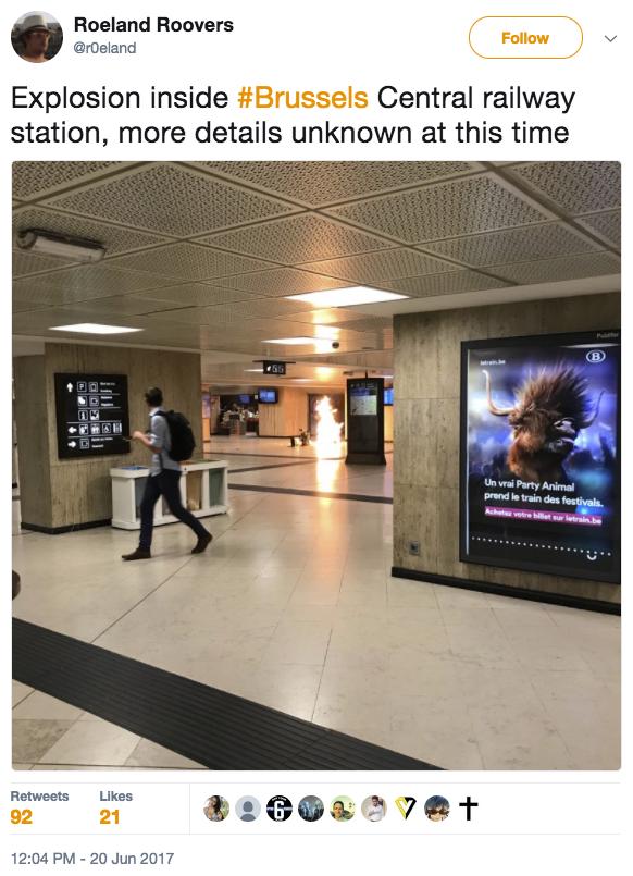 比利時警方表示,當地時間周二(6月20日),布魯塞爾中央車站發生小型爆炸,人員被疏散,交通停擺。(推特擷圖)