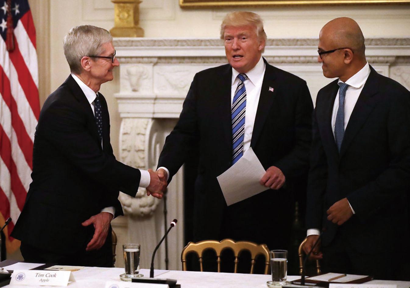 周一(6月19日)特朗普總統在與科技界CEO的會議上譴責北韓政權。(AFP)
