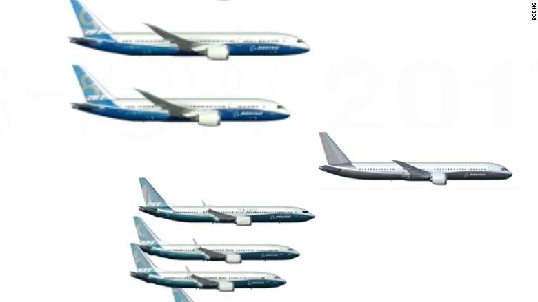 波音公司在巴黎航空展上展示了未來一款新客機模型。外界稱之為「波音797」。(波音公司)