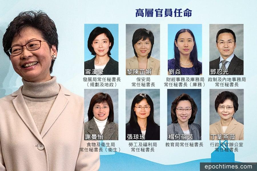 今日(22日)政府宣佈多位高層官員的調動情況。(Lam Yik Fei/Getty Images、政府新聞公報/大紀元合成)