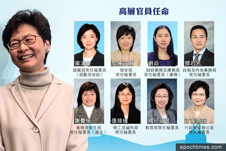 政府公佈多位高官七月起調職