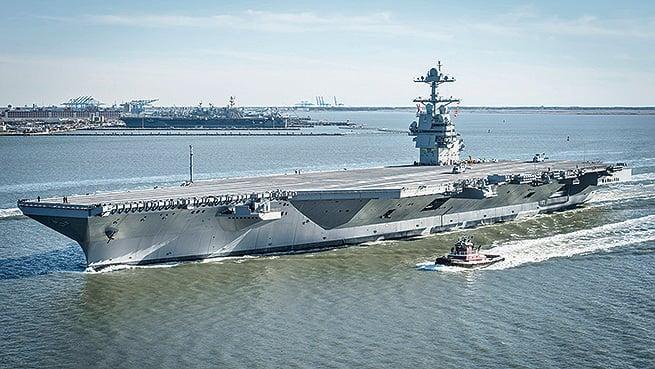 美軍最新航空母艦「福特號」有可能將提前部署,因應國際局勢變化。(Wikipedia)