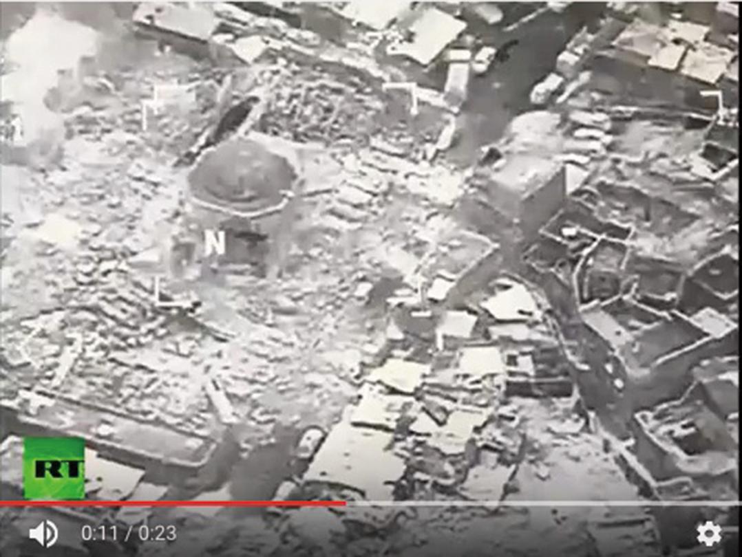 美軍和伊拉克軍說,極端組織「伊斯蘭國」(IS)在摩蘇爾炸毀了這座至少有800年歷史的努里大清真寺。圖為摩蘇爾。(AFP)