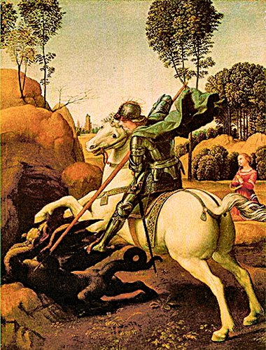拉斐爾繪製兩幅表現聖喬治大戰惡龍的油畫。(網絡圖片)