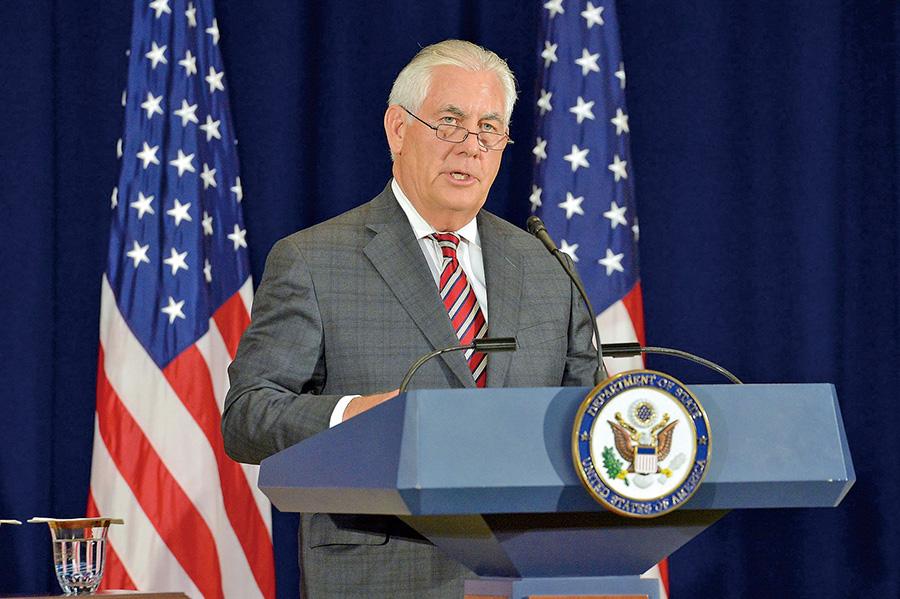 美國國務卿蒂勒森在中美外交安全對話中敦促中方官員對北韓施加更大的外交和經濟壓力,以迫使平壤約束自身核武計劃。(美國國務院)
