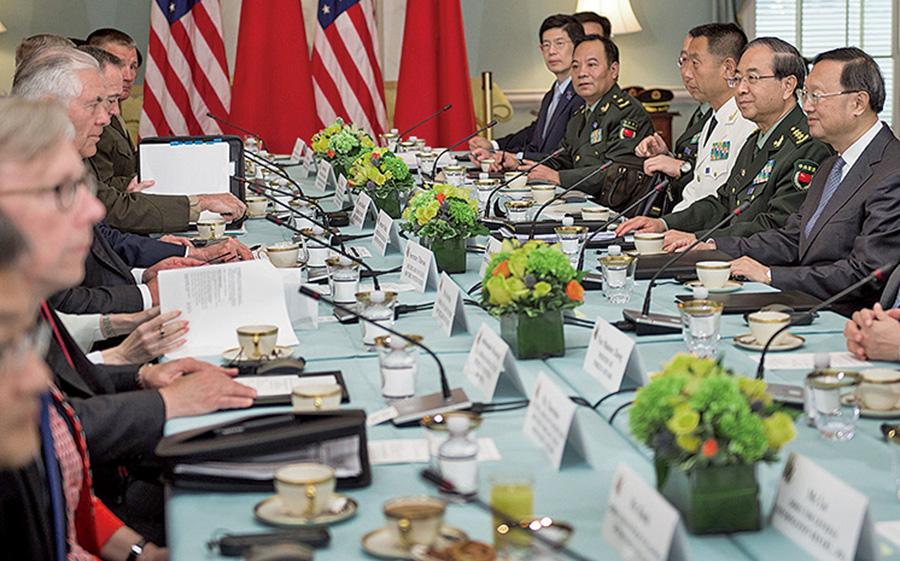北韓問題是此次對話的頭號議程。與會者包括美國國務卿蒂勒森、國防部長馬蒂斯、中共國務委員楊潔篪和總參謀長房峰輝。(Getty Images)