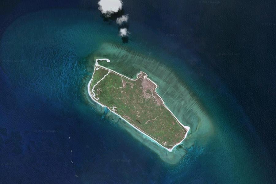 圖為中越兩國存在領土糾紛的西沙群島中的其中一個島嶼。(Google地圖)