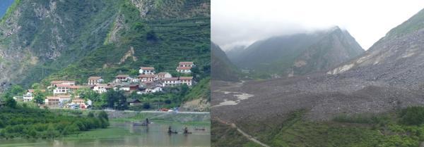 左圖是災情發生前的新磨村新村組,右圖是災情發生後的新磨村新村組。(網絡圖片)