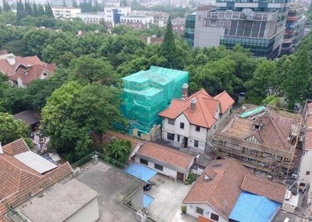 上海靜安區巨鹿路888號被業主拆毀結構並改建。(網絡圖片)