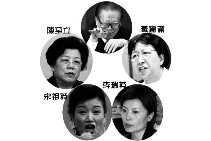 中共前黨魁江澤民荒淫無度,其中外界熟知的四大情婦中,陳至立被提拔為副國級。(大紀元合成圖)