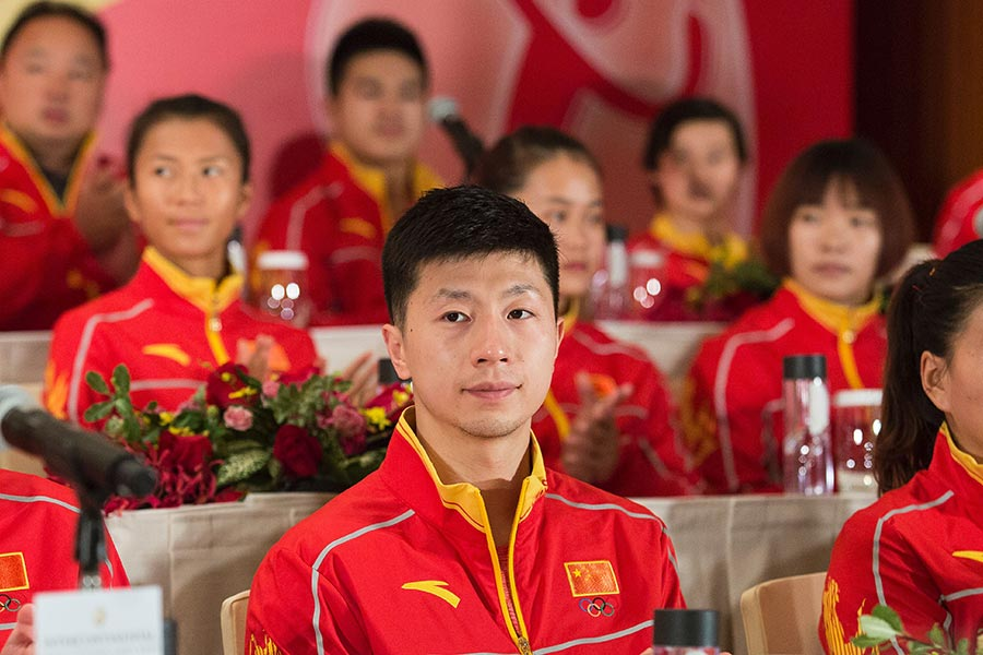 圖中為中國乒乓球隊員、乒乓球男子世界冠軍馬龍。(ISAAC LAWRENCE/AFP/Getty Images)