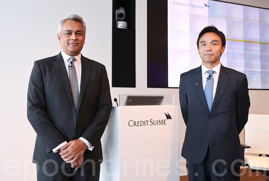 左起瑞信董事總經理兼亞太區首席投資總監伍澤恩、瑞信亞太區投資策略師邵志銘。(余鋼/大紀元)