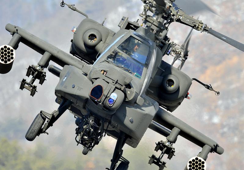 阿帕奇武裝直升機。(JUNG YEON-JE/AFP/Getty Images)
