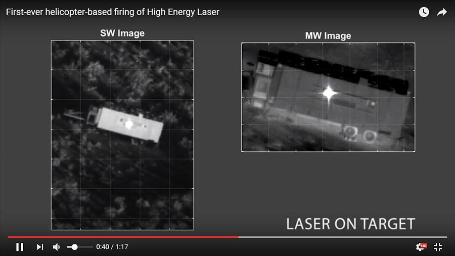 阿帕奇上的激光炮在瞄準目標。(雷神公司視像擷圖)
