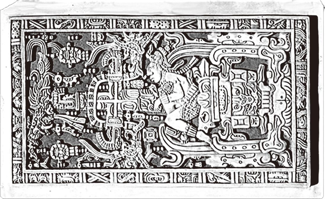 瑪雅遺跡的浮雕中有一副圖畫,畫著一個青年正在操作一台機器,這個機器的前端是流線型的,看起來十分精密複雜,還有類似儀表的東西。(網絡圖片)