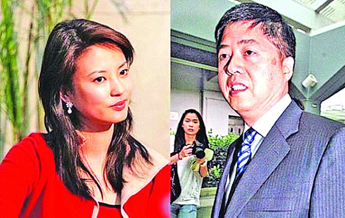 央視女主持人劉芳菲(左)與香港君怡酒店老闆劉希泳(右)是夫妻,後者已在吉林神秘死亡。(網絡圖片)