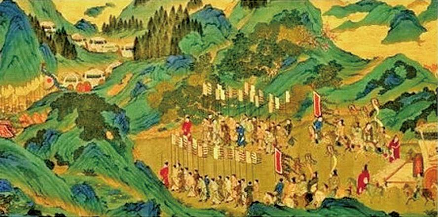 明代仇英繪〈漢武帝上林出獵圖〉(局部),是根據司馬相如的〈上林賦〉中描繪的場景創作出來的。(公有領域