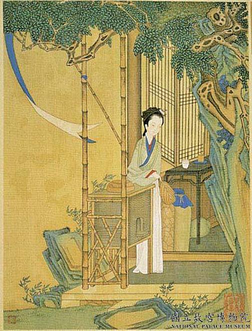 〈清赫達資畫麗珠萃秀冊〉中的卓文君。局部 國立故宮博物院 藏(公有領域)