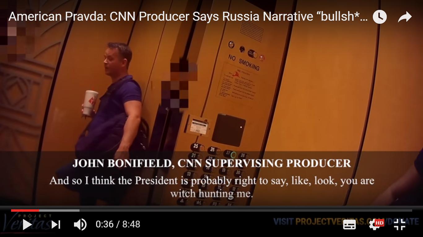 在一份由隱藏攝像頭拍下的片段中,CNN健康節目製片人邦尼菲德(John Bonifield)談論CNN如何利用特朗普通俄指控來提升收視率。(視像擷圖)