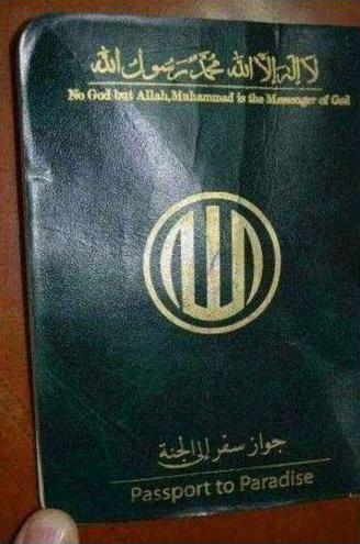 這是在拉卡地區發現的「天堂護照」。(Syrian Defence Force)
