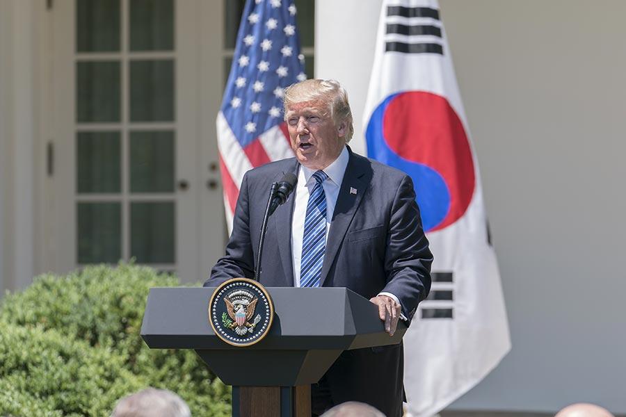 6月30日,美國總統特朗普與南韓總統文在寅在白宮發表聯合聲明。圖為特朗普發表言論。(石青雲/大紀元)