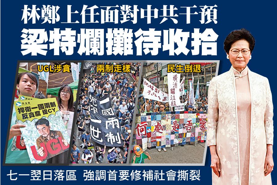 特首林鄭月娥7月1日上任當日,6萬港人參與七一大遊行,不滿的矛頭多指向前特首梁振英遺留的「爛攤子」。(大紀元資料圖片)