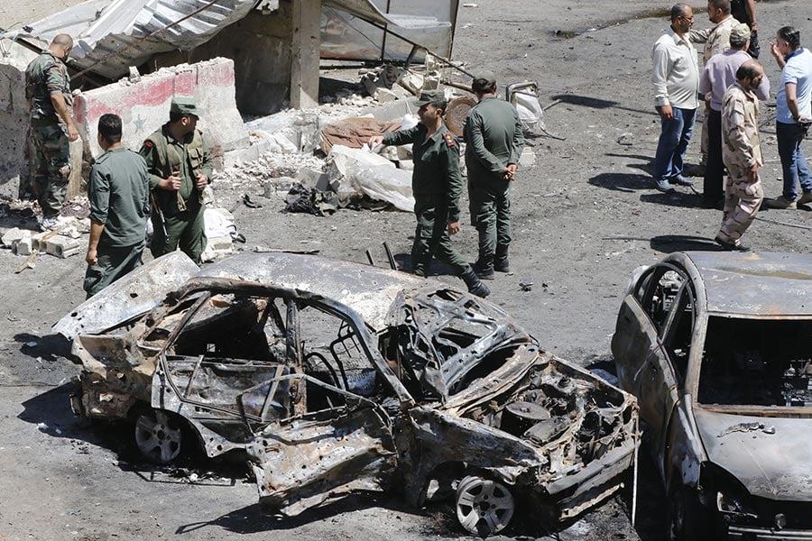 一名自殺炸彈客周日(7月2日)在敘利亞首都大馬士革引爆炸彈,造成至少19人死亡、12人受傷。(LOUAI BESHARA/AFP/Getty Images)