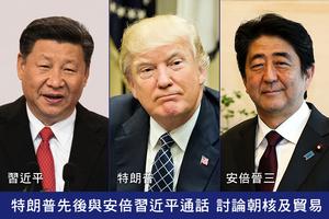特朗普先後與安倍習近平通話 討論朝核及貿易