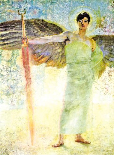 夢的使者來到夢中以沉默示意。圖為Franz von Stuck作品「天堂的守門人」,一八八九年。(維基百科)