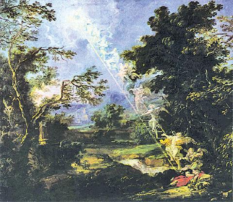 夢以向上的階梯、飛翔提醒人生命更高的境地。圖為Willmann, Michael作品「有風景的雅各之夢」(Landscape with the Dream of Jacob),一六九一年。(維基百科)