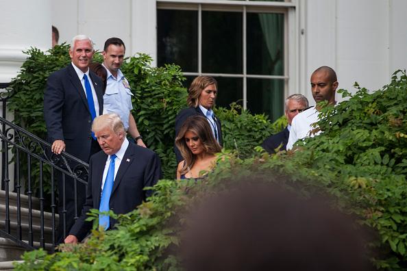 美國副總統彭斯也出席了7月4日的白宮野餐會。(Zach Gibson/Getty Images)