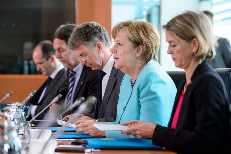 7月5日,德國總理默克爾在與趕來參加G20的習近平進行會談。(Michael Ukas – Pool /Getty Images)