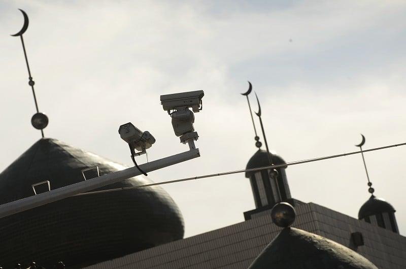 7.5抗暴周年前夕,烏魯木齊到處是監視攝像頭。(Getty Images)