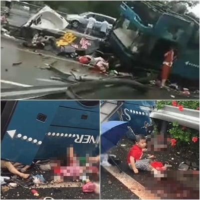廣州載44人巴士翻車 官方稱19死