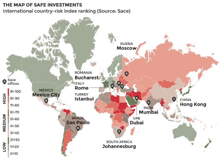 Sace 2016年繪製的全球投資風險地圖,顯示商品價格低廉、債務高昂和政治暴力使發展中國家面臨更大的風險。(Sace)