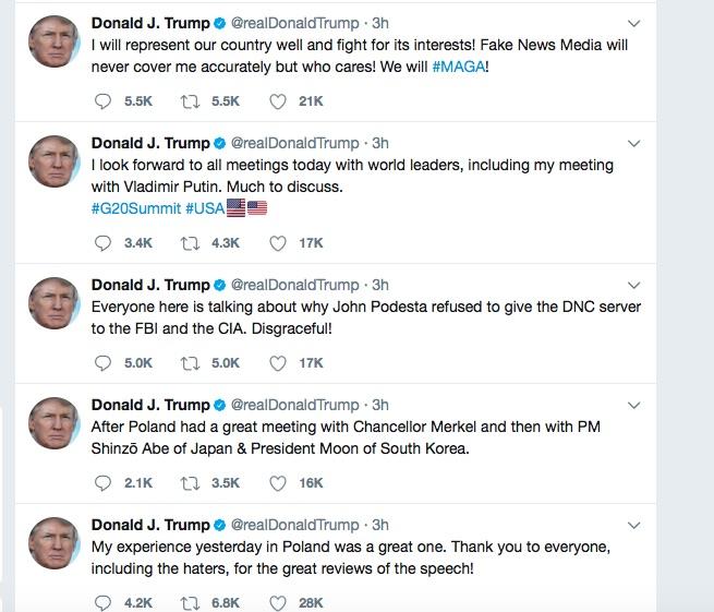 G20會議當天早晨 特朗普連發五條推文
