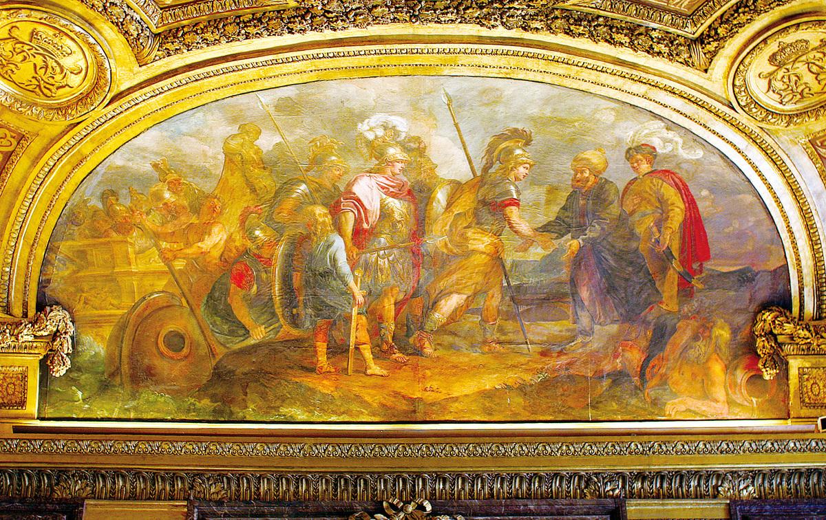 狄安娜廳穹頂西側的半橢圓形拱面上《傑森率領阿耳戈英雄上岸尋得金羊毛》(Jason et les Argonautes abordant a Colchos)。(維基百科)