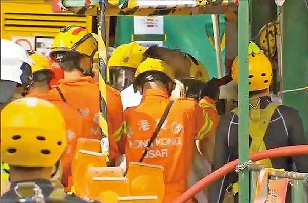 紅磡一個地盤發生嚴重工業意外,造成3名工人死亡。(無綫新聞截圖)