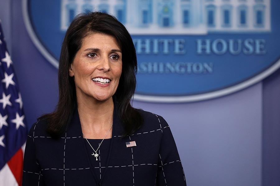 黑利說,我們將會繼續推動一個更強硬的制裁北韓的決議。(Chip Somodevilla/Getty Images)