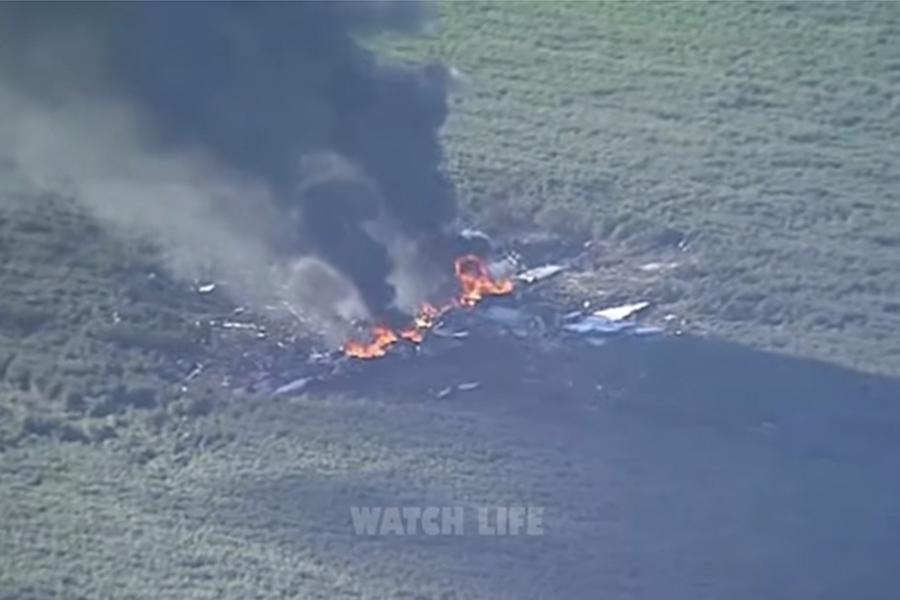 美國軍用運輸機KC-130周一(7月10日)在密西西比州三角洲(Mississippi Delta)地區墜毀。(YouTube視像擷圖)