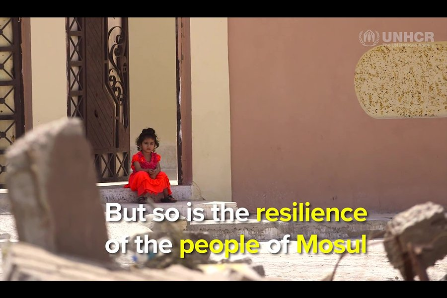 重建面臨種種困難。(聯合國難民署視像擷圖)