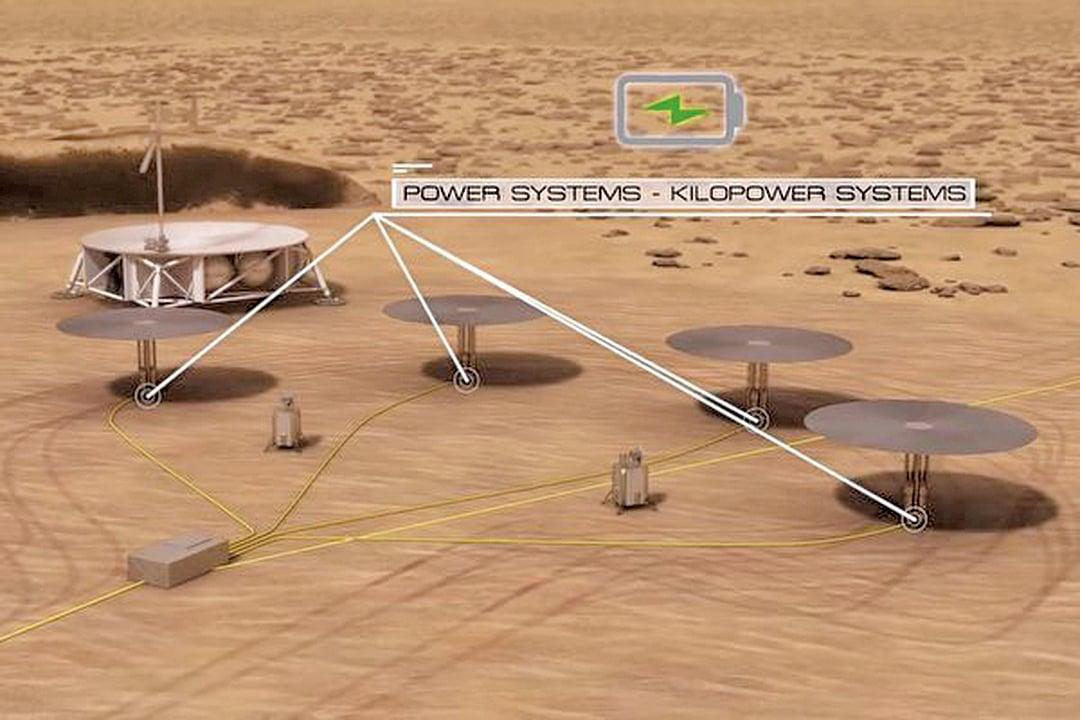 火星上的能源設施——核裂變反應器的構想圖。(NASA影片截圖)
