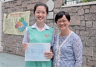 庇理羅士女子中學狀元施奕昕,四個核心科目、生物、化學和經濟科考獲5**,希望讀港大醫科。