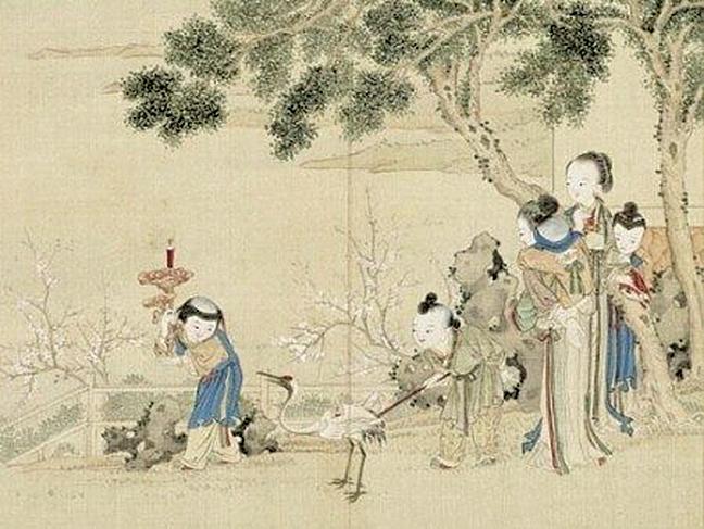清.佚名〈升平樂事圖.花燭鶴燈〉(網路圖片)
