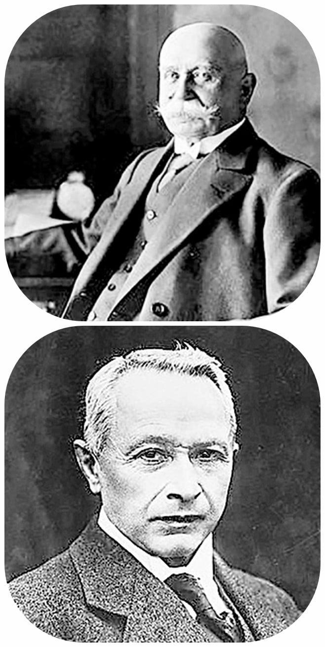 斐迪南·馮·齊柏林伯爵(Zeppelin)(上圖)和雨果·容克斯(Junkers)(下圖)是人類飛行史上舉足輕重的兩位天才人物。(維基百科)