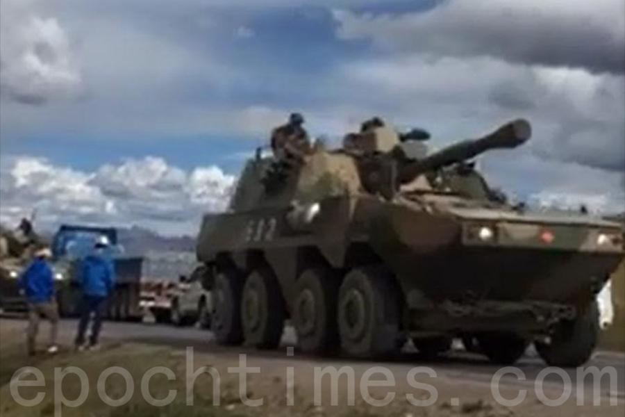 中方出動輪式坦克車隊馳援中印邊境。(網絡圖片)