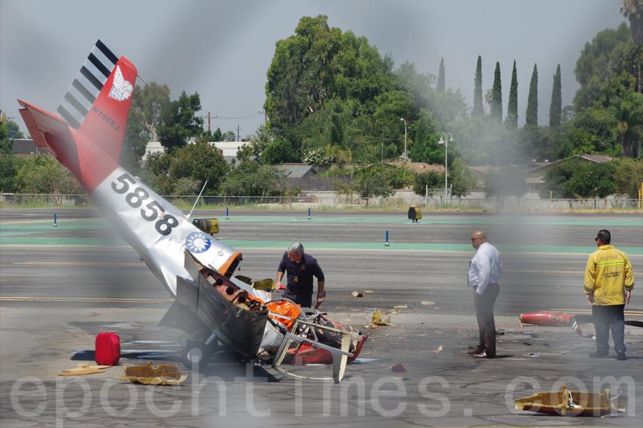 7月14日(星期五)上午,位於洛杉磯艾爾蒙地市(El Monte)的聖蓋博谷機場(San Gabriel Valley Airport)發生私人小飛機機毀人亡的事件。(劉菲/大紀元)