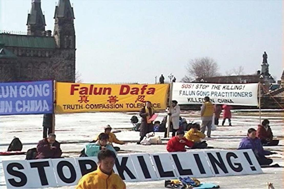 2002年3月江澤民集團對大陸法輪功學員下達滅絕人性的開槍射殺命令時,加拿大法輪功學員齊往渥太華國會山莊,舉行上百人36小時的絕食抗議(明慧網)