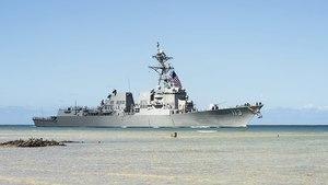 美最新導彈驅逐艦正式服役 特朗普祝賀