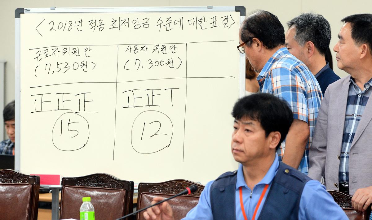 15日,南韓最低工資委員會召開第十一次全體會議並決定,將2018年的最低工資定上調至7,530韓元。圖為當天會議紀錄的表決結果。(newsis)